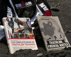 The Complete Book of Triathlon Training & Triathlon the Mnetal Battle Black sands beach Kona